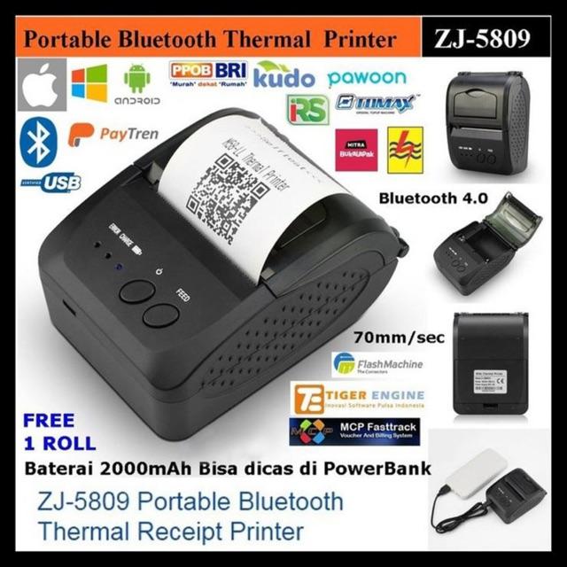 Ulasan Lengkap IWARE ZJ-5809 MINI PORTABLE BLUETOOTH THERMAL PRINTER PPOB/KASIR 58MM - Belanja Toko Edi Sugiyanto