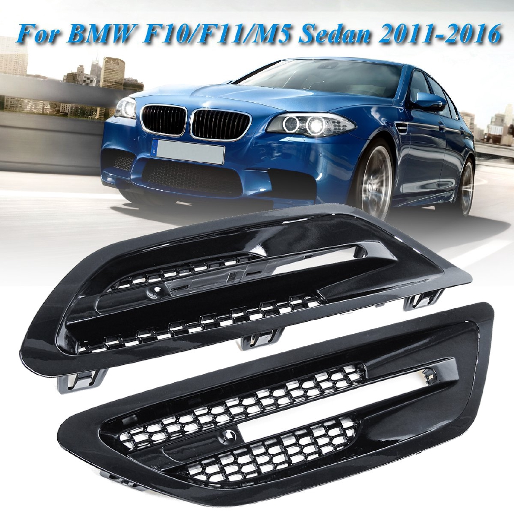 For BMW F10 M5 Sedan Gloss Black Side Grill Fender Vent Grille Replacement Cover