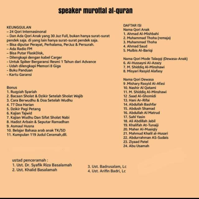 Speaker Murottal Al Quran As Sunnah Lengkap 30 Juz