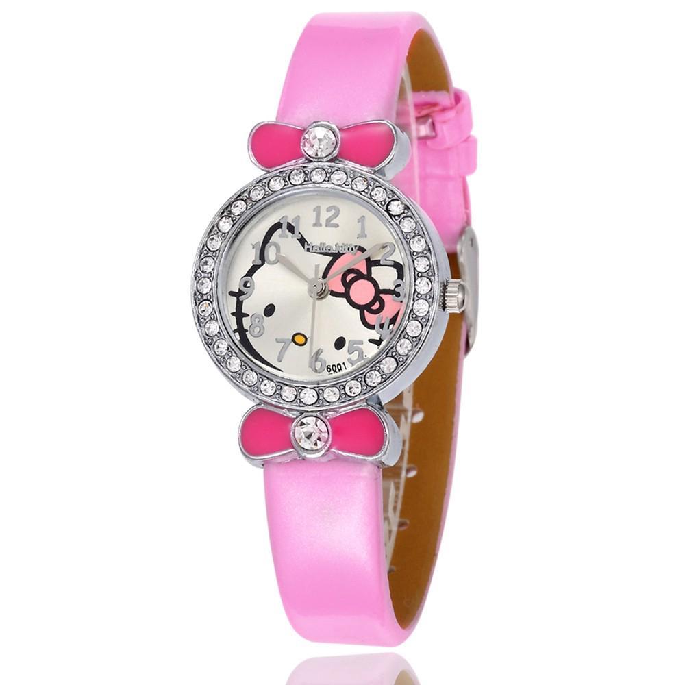 Jam Tangan Quartz Motif Kartun Hello Kitty dengan Berlian Buatan