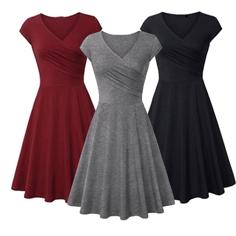 Women Fashion Slim Dress Short Sleeve V Neck Party Dresses Shopee Indonesia