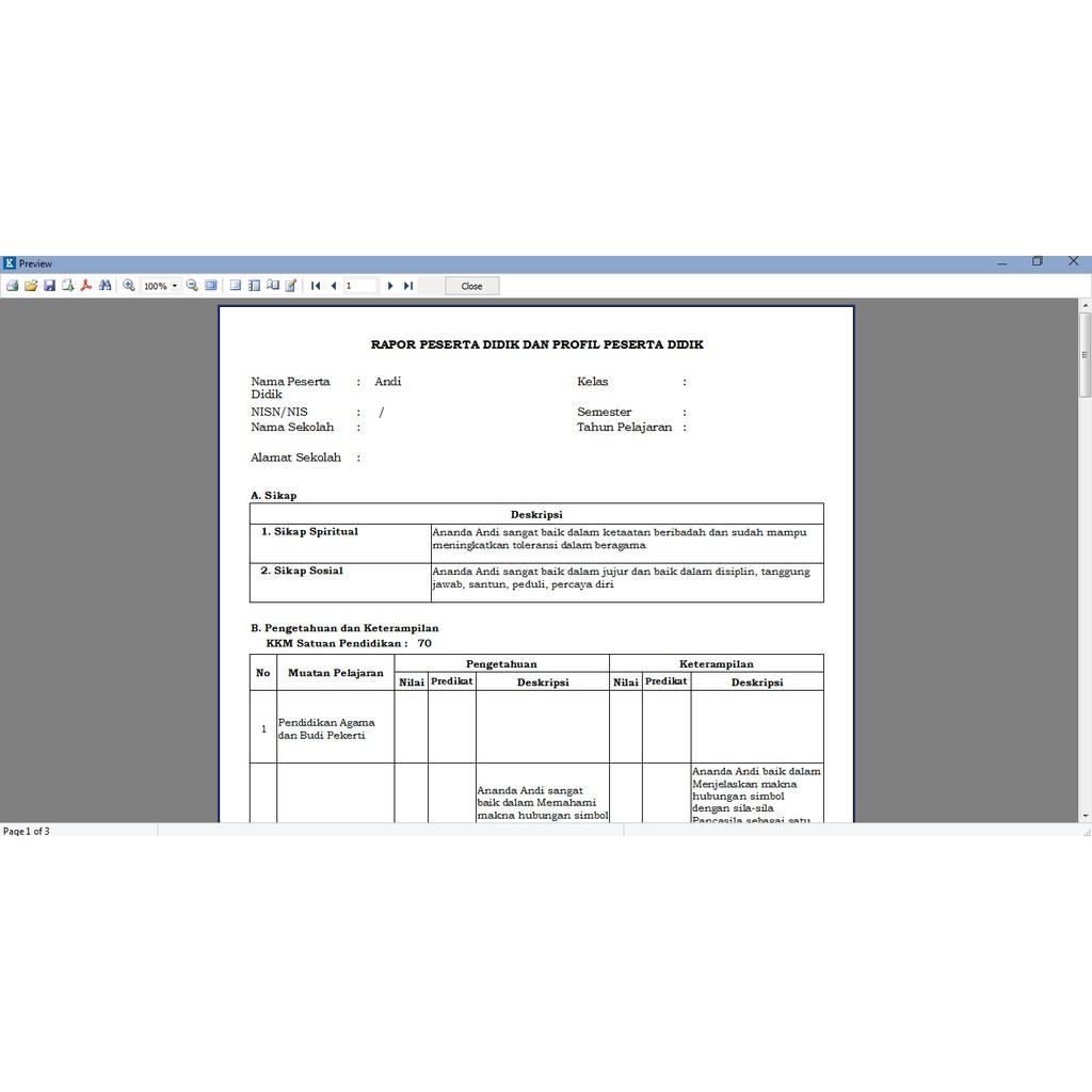 Software Pengolah Nilai Dan Cetak Rapor K13 Kurikulum Nasional Kurtilas K13 Shopee Indonesia