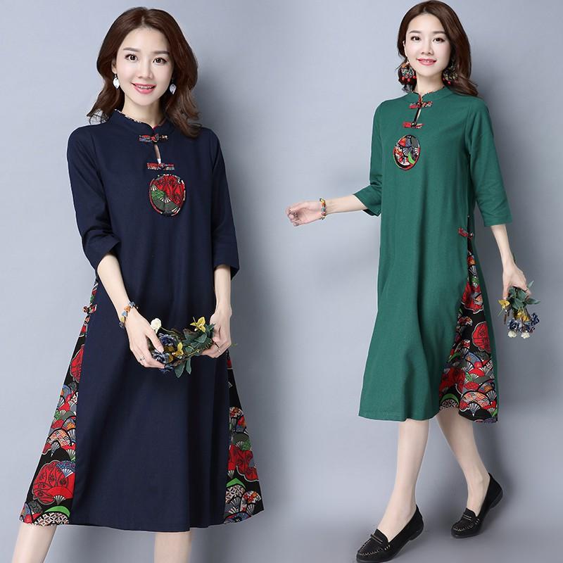 Fashion Women Floral Printed V-neck Evening Cocktail Party Dress Plus Size   de98515b33