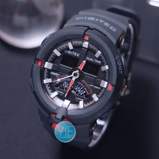 Jam Tangan Sport Pria Digitec DG 2113 T Dual Time Original Anti Air - Hitam List