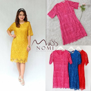 Dress Pendek Mini Dress Batik Mix Brokat Elegant Etnik Jumbo