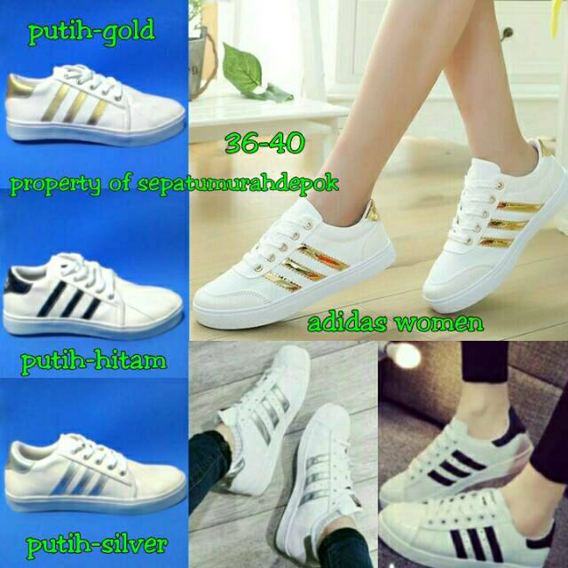Sepatu Adidas Murah Warna Putih Strip Gold Strip Hitam Strip