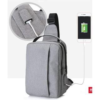 [Gratis Ongkir] Tas Selempang Pria Kanvas USB PORT Sling Bag Smartphone Tas Slempang Canvas