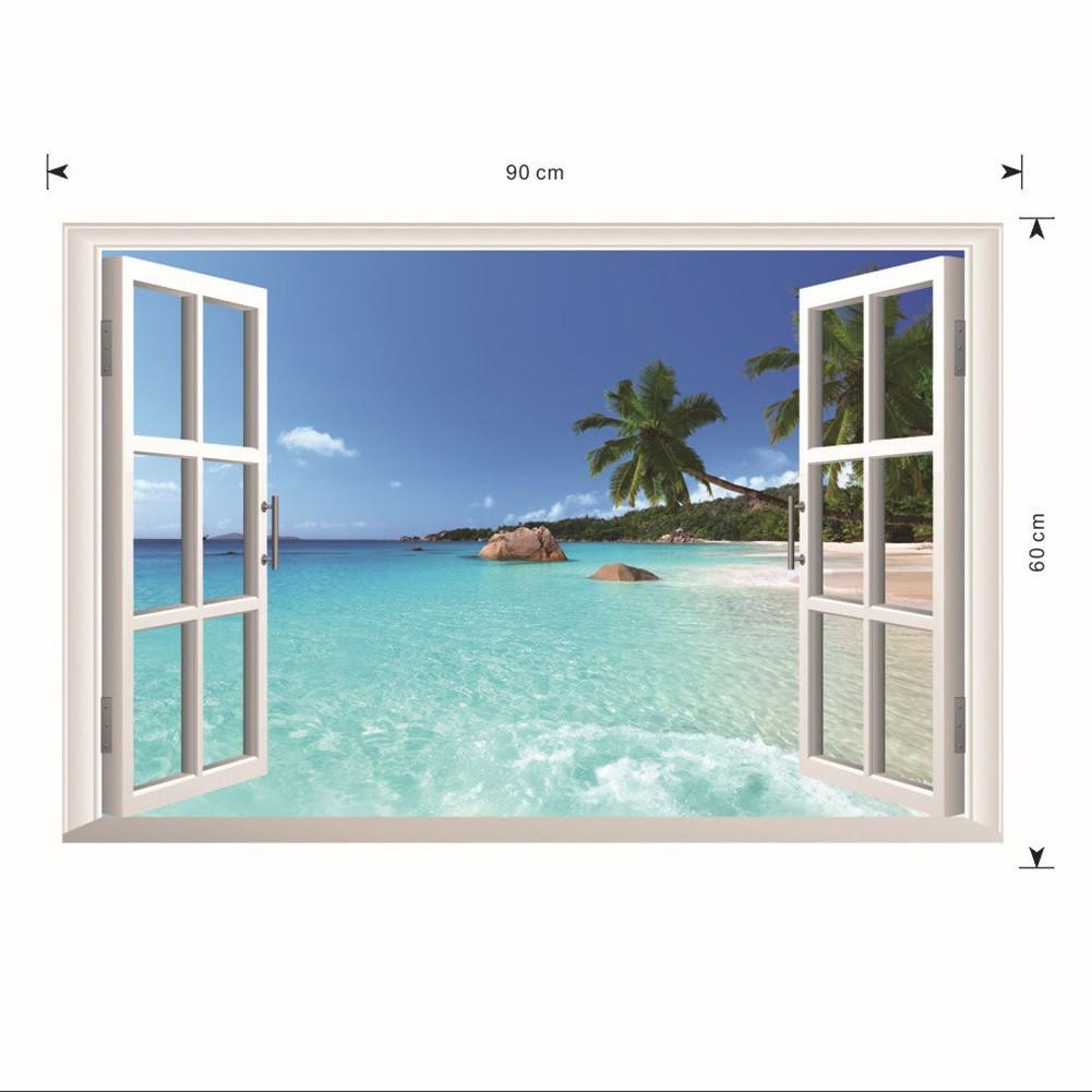 Stiker Wallpaper Dinding Motif Jendela Dimensional Laut Hawaii 3D Untuk Dekorasi Ruang Tamu