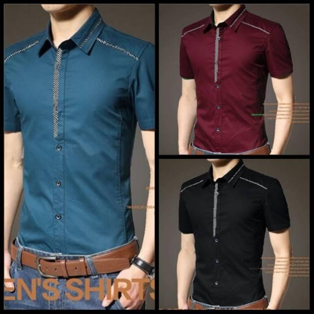 PROMO  xj2 Kemeja Roby Lengan Pendek Tosca Maroon Black Good Quality Murah    baju pria laki   koko e3ad9ec96f