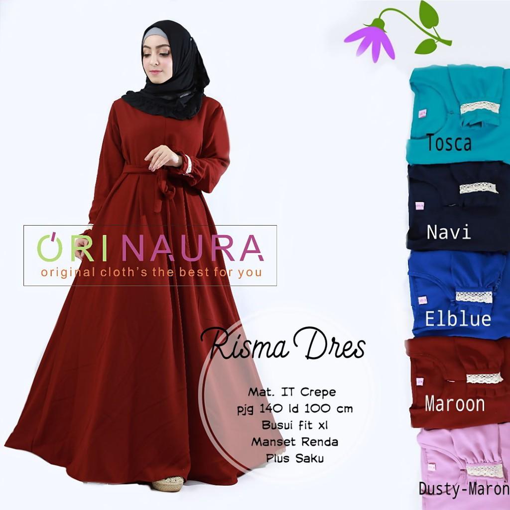 Gamis Polos Crepe Baju Muslim Wanita Modern Longdress Risma