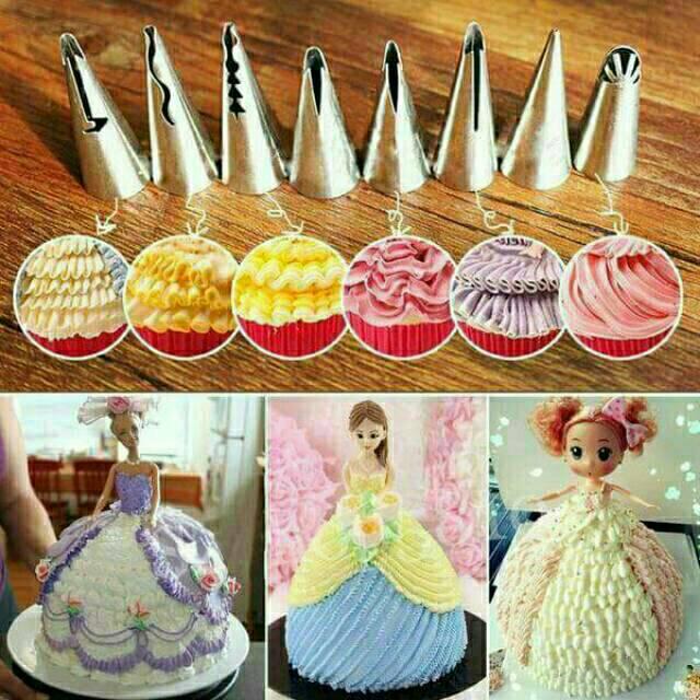 6 Pcs Spuit Korea Renda Spuit Kue Rok Barbie Dekorasi Kue Fondant Cake Rusia Kue Ulang